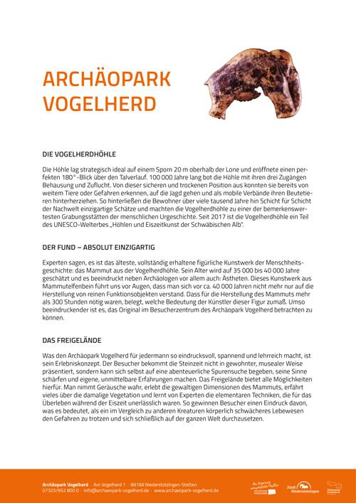 Archäopark Vogelherd Pressetext-Cover